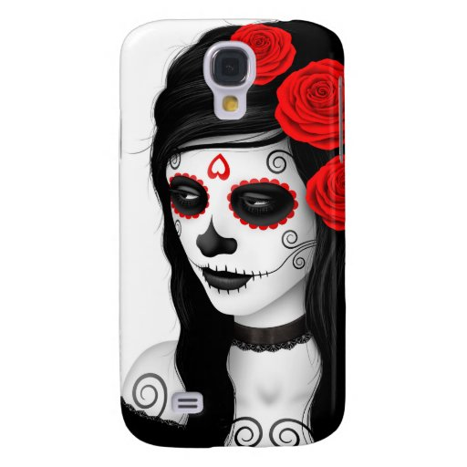 Day of the Dead Girl with Roses White Galaxy S4 Cover