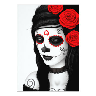 Day of the Dead Girl with Roses White Custom Invitation