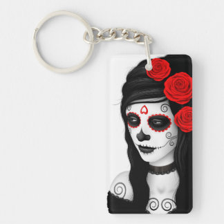 Day of the Dead Girl with Roses White Acrylic Key Chain