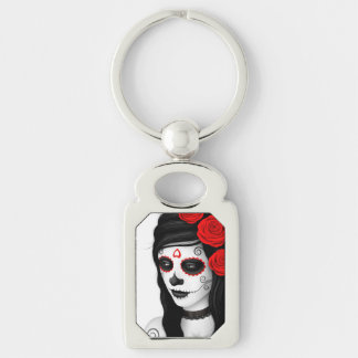 Day of the Dead Girl with Roses White Keychains