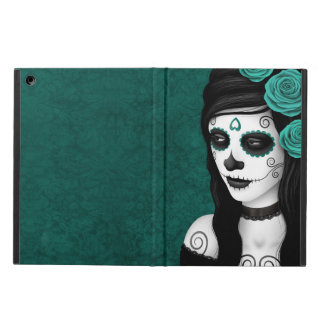 Day of the Dead Girl with Teal Blue Roses Cover For iPad Air
