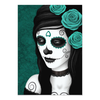 Day of the Dead Girl with Teal Blue Roses Invitation