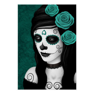 Day of the Dead Girl with Teal Blue Roses Poster
