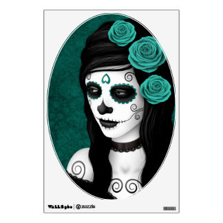 Day of the Dead Girl with Teal Blue Roses Room Decal