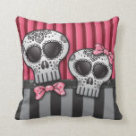 Day of The Dead Glitter Sugar Skulls Pirate Stripe Throw Pillows