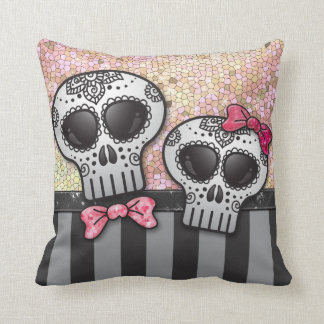 Day of The Dead Glitter Sugar Skulls Pirate Stripe Pillow