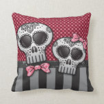 Day of The Dead Glitter Sugar Skulls Pirate Stripe Pillows