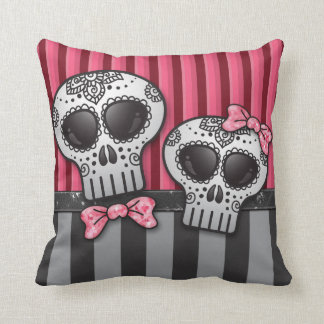 Day of The Dead Glitter Sugar Skulls Pirate Stripe Throw Pillow