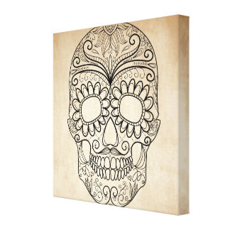 Day Of The Dead Grungy Skull Canvas Print