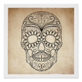 Day Of The Dead Grungy Skull Poster