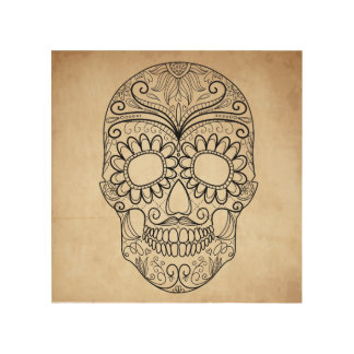 Day Of The Dead Grungy Skull Wood Print