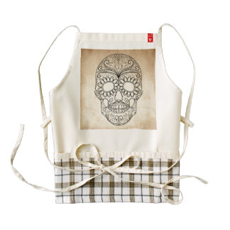 Day Of The Dead Grungy Skull Zazzle HEART Apron