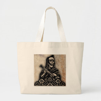 Day of the Dead Guitar Playing Skeleton Large Tote Bag