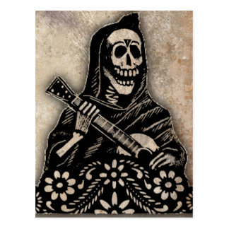 Day of the Dead Guitar Playing Skeleton Postcard