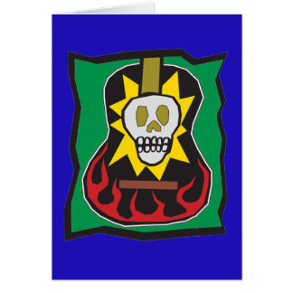 Day of the Dead Guitar Skul Blue w/Green Greeting Card