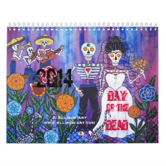 Day of the Dead Illustrated Lovers Calendar 2014