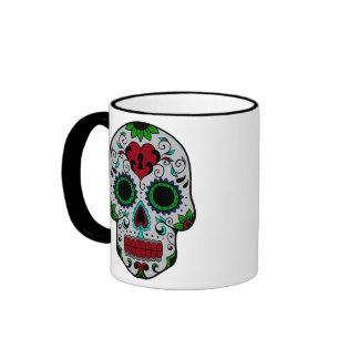 Day of the Dead in Red and Green Ringer Coffee Mug