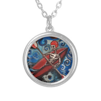 Day of the Dead Kayaker Silver Plated Necklace