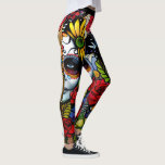 "Day of the Dead Leggings<br><div class=""desc"">Vibrant floral Day of the Dead design on high quality leggings. Rich jewel toned flowers surround a woman&#39;s face painted for the Mexican Day of the Dead. Bold and unique. Superior quality leggings perfect for working out or just lounging around. Very lovely!</div>"
