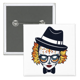 Day of the Dead Magician with Fedora Pinback Button