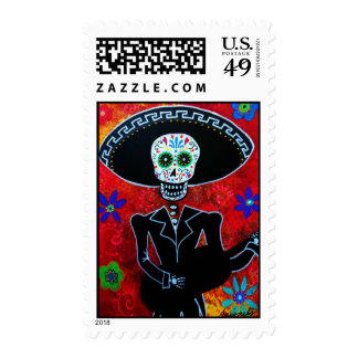 Day of the Dead Mariachi Stamp Postage