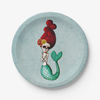 Day of The Dead Mermaid Girl Paper Plate