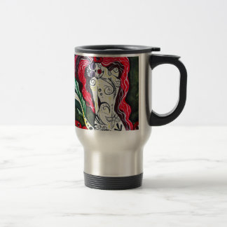 Day of the Dead Mermaid HEART 15 Oz Stainless Steel Travel Mug