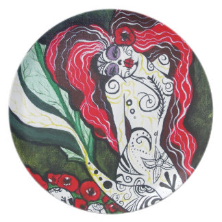 Day of the Dead Mermaid HEART Melamine Plate