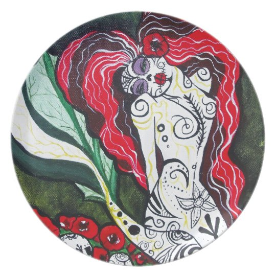 Day of the Dead Mermaid HEART Melamine Plate