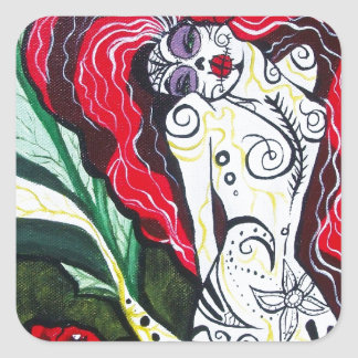 Day of the Dead Mermaid HEART Square Sticker
