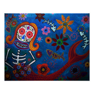 DAY OF THE DEAD MERMAID POSTER