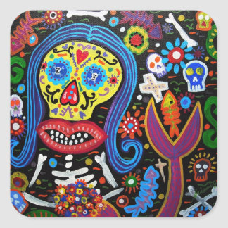 day of the dead mermaid square sticker