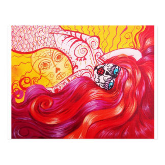 Day of the Dead Mermaid Whimsy Postcard