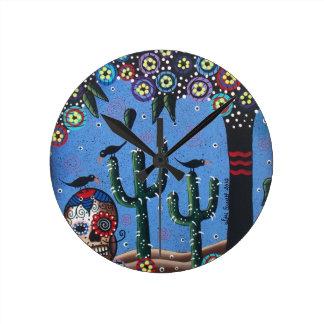 Day Of The Dead Mexican Art By Lori Everett Wallclocks