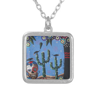 Day Of The Dead Mexican Art By Lori Everett Personalized Necklace