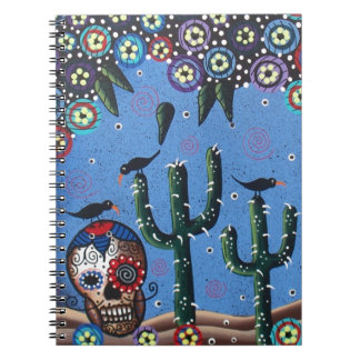 Day Of The Dead Mexican Art By Lori Everett Spiral Notebooks