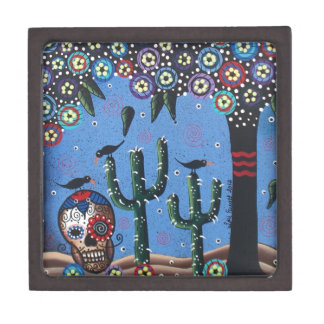 Day Of The Dead Mexican Art By Lori Everett Premium Keepsake Boxes