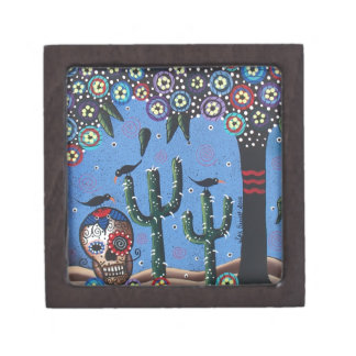 Day Of The Dead Mexican Art By Lori Everett Premium Trinket Box