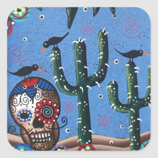 Day Of The Dead Mexican Art By Lori Everett Sticker