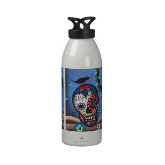 Day Of The Dead Mexican Art By Lori Everett Water Bottle