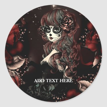 Halloween Themed Day of the Dead Mexican Girl Birthday Party Favor Classic Round Sticker