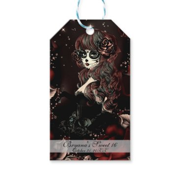 Halloween Themed Day of the Dead Mexican Girl Birthday Party Red Gift Tags