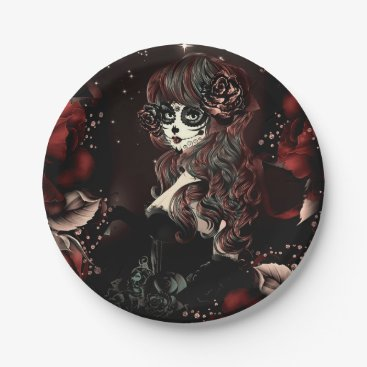 Halloween Themed Day of the Dead Mexican Girl Birthday Party Red Paper Plate