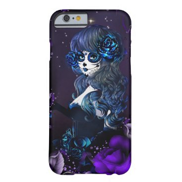 Halloween Themed Day of the Dead Mexican Girl Blue Purple Roses Barely There iPhone 6 Case