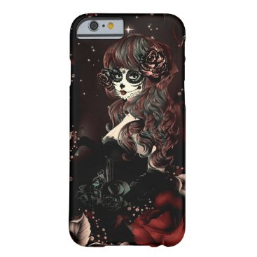 Halloween Themed Day of the Dead Mexican Girl Red Black Roses Barely There iPhone 6 Case