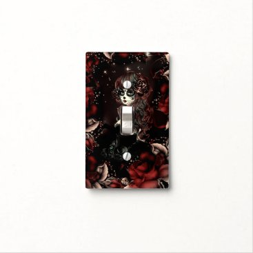 Halloween Themed Day of the Dead Mexican Girl Red Black Roses Light Switch Cover
