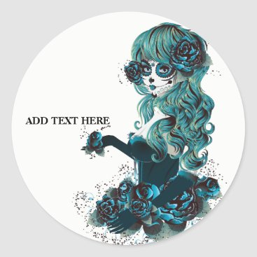 Halloween Themed Day of the Dead Mexican Sugar Skull Girl Custom Classic Round Sticker