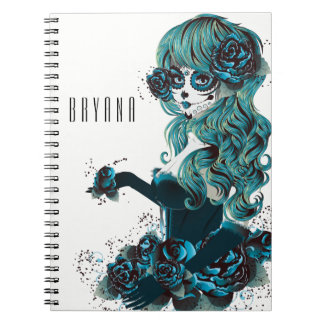 Day of the Dead Mexican Sugar Skull Girl Custom Notebook