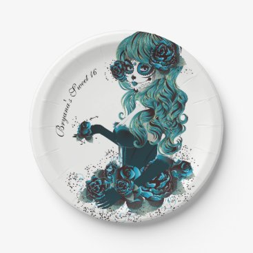 Halloween Themed Day of the Dead Mexican Sugar Skull Girl Custom Paper Plate