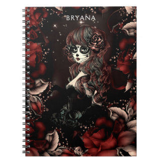 Day of the Dead Mexican Sugar Skull Girl Red Roses Notebook